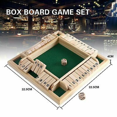 £7.99 • Buy 4 Players Shut The Box Board Family Game Wooden Traditional Dice Children