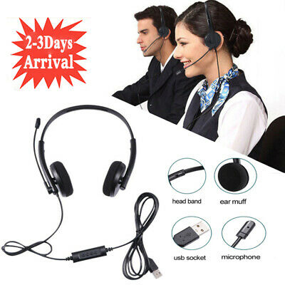 £7.99 • Buy USB Computer Headset Wired Over Ear Headphones For Call Center PC Laptop Skype