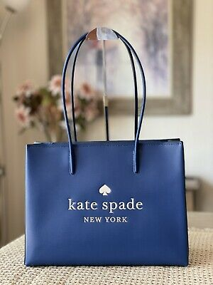 $ CDN175.01 • Buy Kate Spade New York Trista Leather Large Shopper Tote Top Zip In River Blue