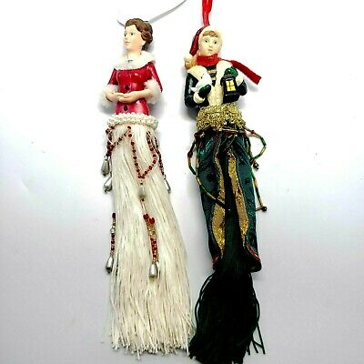 $ CDN15.12 • Buy Lot Of 2 Christmas Themed Tassel Dolls, Flapper, Mid-Century, Molded, 9