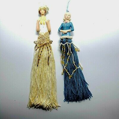 $ CDN15.12 • Buy Lot Of 2 Tassel Dolls, Flapper, Mid-Century, Molded, 10