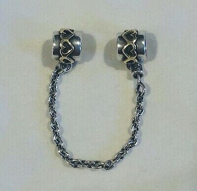AU70 • Buy Genuine PANDORA Sterling Silver And 14k Gold 6cm Heart Safety Chain. 925 ALE
