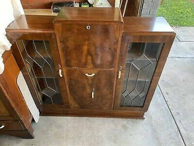 AU500 • Buy Antique Vintage Art Deco Leadlight Display Cabinet Cupboard