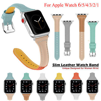 AU14.99 • Buy For Apple Watch Series 6 5 4 3 2 SE 40/44mm Slim Leather IWatch Band Women Strap