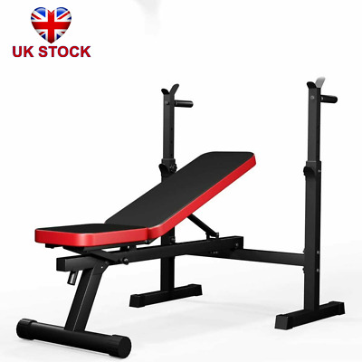 £76.89 • Buy Folding Adjustable Weight Bench Barbell Dip Station Flat Sit Up Home Gym Fitness