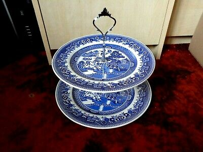 £15.99 • Buy * BRITISH ANCHOR   BLUE WILLOW   BLUE AND WHITE 2 Tier CAKE STAND - FREE UK POST