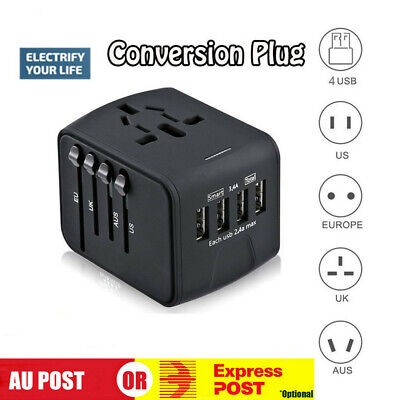 AU18.40 • Buy Travel Adapter Universal Adaptor 4 USB International Charger Plug Converter