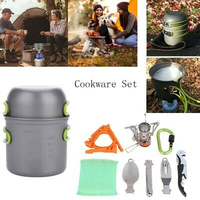 £22.70 • Buy Portable Camping Cookware Kit Outdoor Picnic Cooking Bowl Pot Pan Equipment