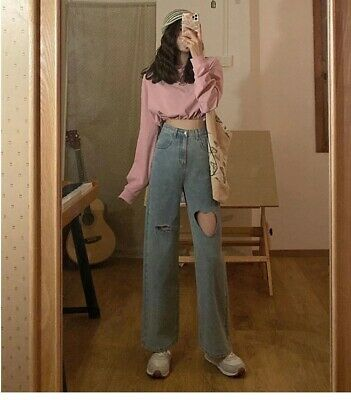 $ CDN42.06 • Buy Heart Shaped Hole Relaxed Jeans High Waisted Straight Cut Tattered Denim Pants