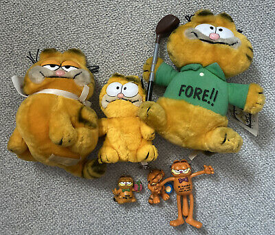 £25 • Buy GARFIELD VINTAGE OLD Plush TOY FIGURE Key Ring BUNDLE COLLECTION