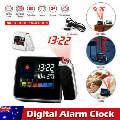 AU14.78 • Buy Smart Digital LED Projection Alarm Clock Temperature Time Projector LCD Display