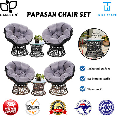 AU429.85 • Buy Gardeon Outdoor Lounge Setting Furniture Papasan Chairs Table Wicker Sofa Chair