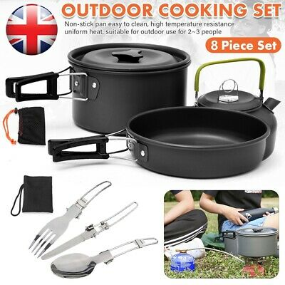 £19.99 • Buy Portable Camping Cookware Kit Outdoor Picnic Hiking Cooking Equipment Pan_Kettle