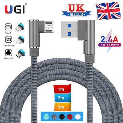 £2.92 • Buy UK Double Elbow 2A Charge Cable Data Sync Cord For IPhone Micro USB  Type C IOS