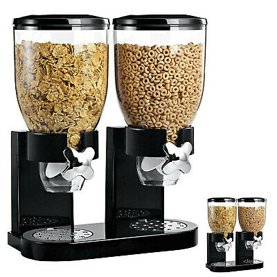 £9.99 • Buy Double Cereal Dispenser Kitchen Storage Container Dry Food Pasta Grain Organiser