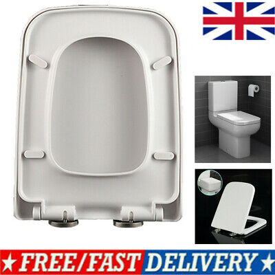£14.90 • Buy Luxury Square Toilet Seat Heavy Duty White Soft Close Top Quick Release Hinges