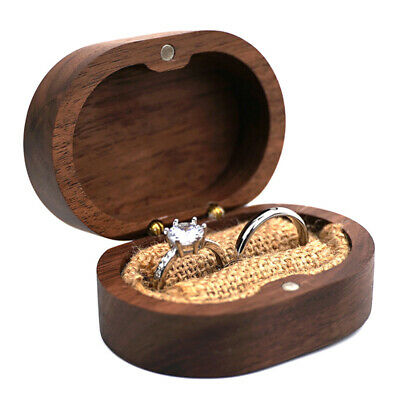 AU13.21 • Buy Wooden Jewelry Ring Box Rustic Wedding Ring Holder Collection Display Gift