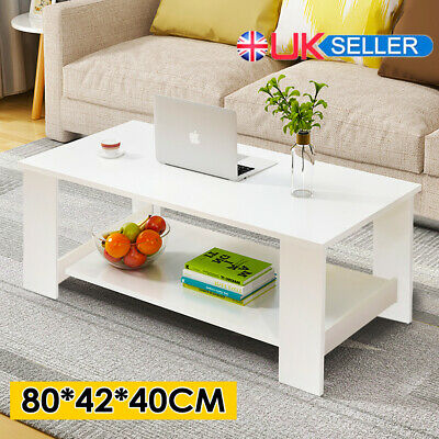 £35.99 • Buy 2 Tier Coffee End/Side Table Modern White Design With Storage Shelf Living Room