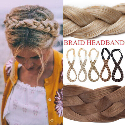 £7.95 • Buy Natural Braided Hair Band Plaited Headband Fake Hair Extension One Piece As Real