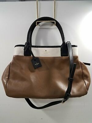 $ CDN12.12 • Buy Kate Spade NY Brown/Cream Leather Shoulder Tote Purse