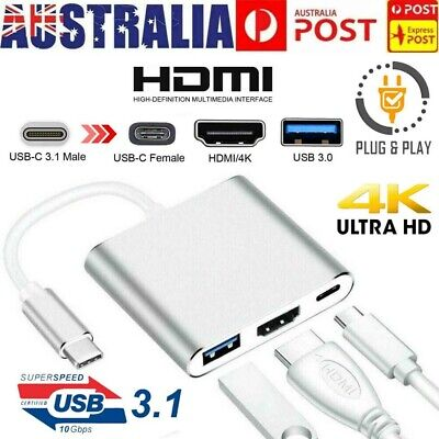 AU15.98 • Buy Type C To USB-C 3 In1 4K HDMI USB 3.0 Hub Adapter Cable For Macbook Samsung AU