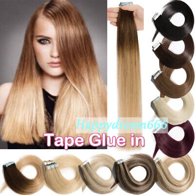 £20.79 • Buy Double Side Invisible Tape In Russian Human Hair Extensions Seamless Skin Weft