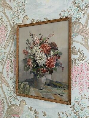 £21.50 • Buy Vintage Albert Ronin Print/Picture Floral Bouquet Wartime Wall Art 1940s Flowers
