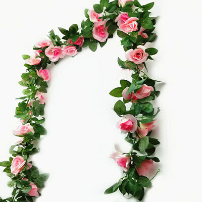 £5.98 • Buy 16 Heads 7Ft Artificial Faux Silk Flower Rose Leaf Garland Vine Home Party Decor