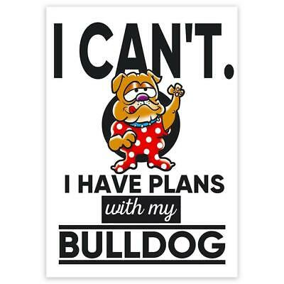 $1.50 • Buy Gift Sticker : I Can't Have Plans With My Bulldog Dog Funny Sarcastic