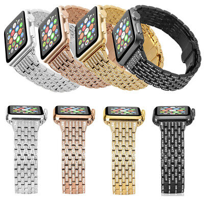 $ CDN34.33 • Buy For IWatch 38-44mm Bling Steel Watch Bands Strap For Apple Watch Series 1 2 3 4