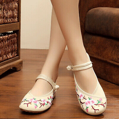 £8.33 • Buy Fashion Womens Floral Embroidery Loafers Casual Chinese Retro Soft Flats Shoes .