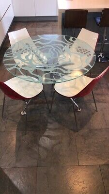 £749 • Buy Calligaris - Tempered Glass Round Dining Table & 4 Chairs