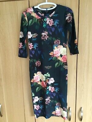 £8 • Buy Topshop Teal Floral Unlined Calf Length Dress Size 10