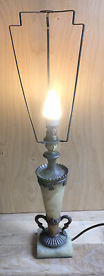£119.99 • Buy VINTAGE TAPERED MARBLE COLUMN BRASS NOUVEAU / VICTORIAN Style TABLE LAMP LIGHT