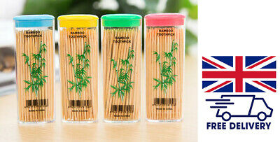£2.99 • Buy 100approx Wooden Dental Tooth Picks Bamboo Toothpicks Portable Case Oral Hygiene