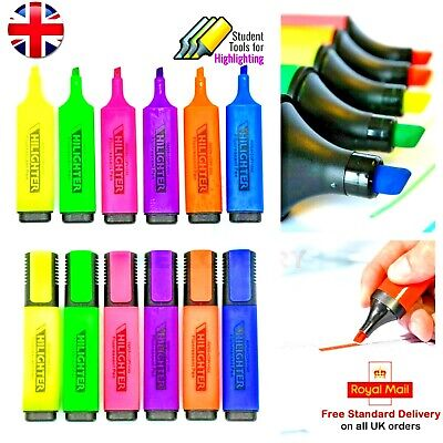 £2.90 • Buy 6 PCS Assorted Premium Chisel Tip Highlighter Fluorescent Markers Pens Bright UK