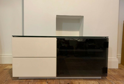 £68 • Buy Modern Gloss White Handless TV Stand / Cabinet / Unit With Glass Door