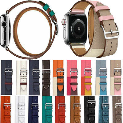 AU21.83 • Buy Genuine Leather Watch Band Double Tour Bracelet 38/42mm 40/44mm For IWatch Strap