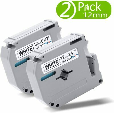 $5.58 • Buy 2Pcs M-K231 Label Tape For Brother P-touch Label Maker 12mm 8M Black On White