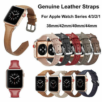 $ CDN14.35 • Buy Genuine Leather Watch Band Strap Bracelet For Apple Watch Series 6 5 4 3 2 1 SE