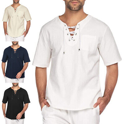 £11.99 • Buy UK Mens Cotton Linen Short Sleeve T-shirt Casual Loose V Neck Lace Up Tops Tunic