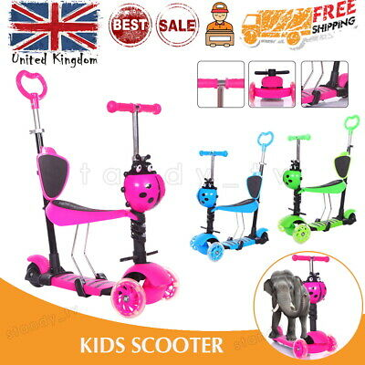 £18.99 • Buy 5 In 1 Kids Child Push Scooter 3 Wheel Toddler Beginner Kick Scooters Seat UK