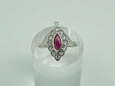 £29.99 • Buy Gorgeous Dainty Vintage Sterling Silver Ruby & Spinel Cluster Ring Size M