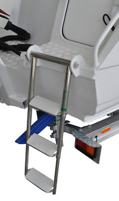 AU285 • Buy Genuine Quintrex Stacer Telescopic Ladder Stainless Steel 3 Step