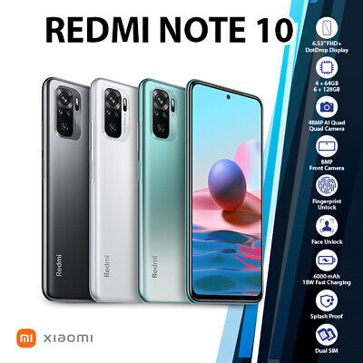 AU329 • Buy (Unlocked) Xiaomi Redmi Note 10 6GB+128GB Green White Grey Android Mobile Phone
