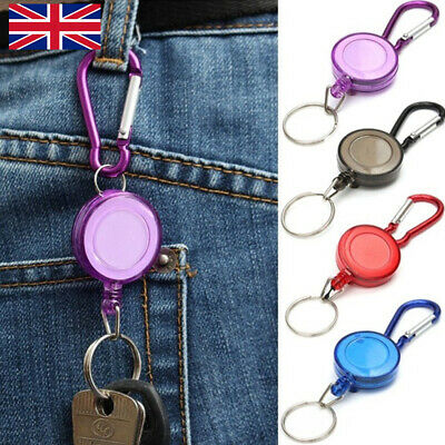 £1.99 • Buy 2X Stainless Pull Ring Retractable Key Chain Recoil Keyring Heavy Duty Steel NEW