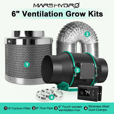£129.99 • Buy Mars Hydro 4'' 6'' Inline Ventilation Fan Kits Ducting Carbon Filter Grow Tent