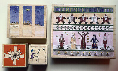 £7.99 • Buy Craft Rubber Stamps - 4 Christmas Stamps On Wooden Blocks. Set 11