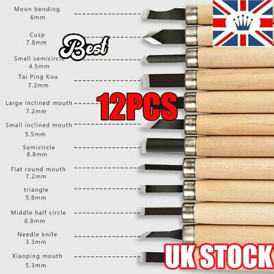 £5.76 • Buy 12x Wood Carving Hand Chisel Tool Kit Set Wood Working Whittling Cutter UK