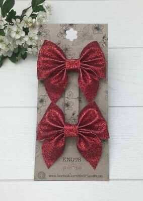 £3 • Buy 2 Red Glitter Bow Clips 3  Pinch Bows Gifts For Girls Sparkly Hair Accessories